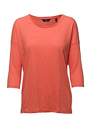 O2. LINEN 3/4 SLEEVE TUNIC - STRONG CORAL