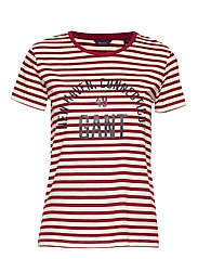 D1. STRIPE GRAPHIC SS T-SHIRT - MAHOGNY RED