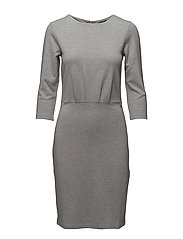 O2. JERSEY PLEAT DRESS - GREY MELANGE