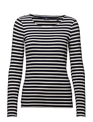 STRIPED 1X1 RIB LS T-SHIRT - EVENING BLUE