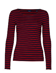 1X1 RIB LS T-SHIRT - MAHOGNY RED
