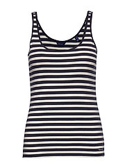 D1. STRIPED 1x1 RIB TANK TOP - EVENING BLUE