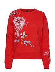 D1. MARINE PAISLEY C-NECK SWEAT - BRIGHT RED
