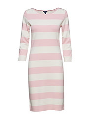 O1. BARSTRIPED SHIFT DRESS - CALIFORNIA PINK