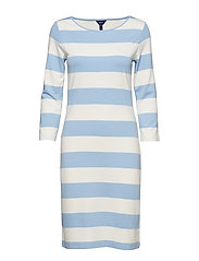 O1. BARSTRIPED SHIFT DRESS - CAPRI BLUE