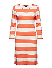 O1. BARSTRIPED SHIFT DRESS - CORAL ORANGE