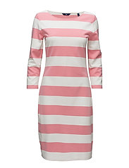 O1. BARSTRIPED SHIFT DRESS - GERANIUM PINK