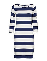 O1. BARSTRIPED SHIFT DRESS - PERSIAN BLUE