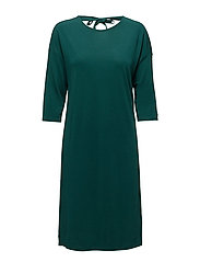 OP2. BOW BACK 3/4 SLEEVE DRESS - JUNE BUG GREEN