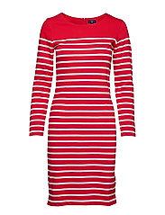 O2. STRIPED SHIFT DRESS - BRIGHT RED