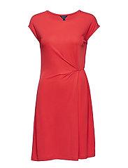 O2. WAIST DETAIL DRESS - CARDINAL RED