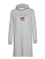 O1. GANT SHIELD HODDIE DRESS - GREY MELANGE