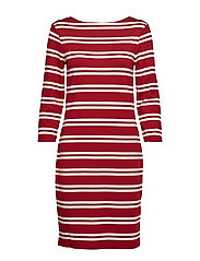 D1. STRIPED DRESS - MAHOGNY RED