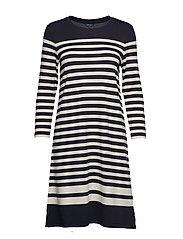 D1. STRIPED SHIFT DRESS - EVENING BLUE