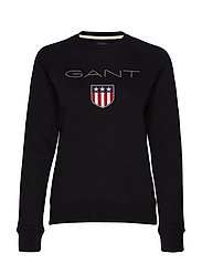 GANT SHIELD LOGO C-NECK SWEAT - BLACK