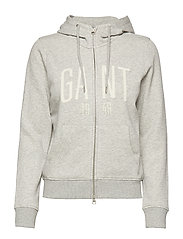 D1. LOGO FULL ZIP HODDIE - LIGHT GREY MELANGE