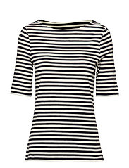 D1. BOATNECK STRIPED TOP - EVENING BLUE
