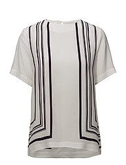 O1. BORDER STRIPED TOP - EGGSHELL