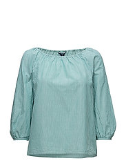 O1. PREPPY STRIPED BLOUSE - EMERALD GREEN