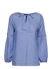 O2. PP SATEEN STRIPED BLOUSE - PERIWINKLE BLUE