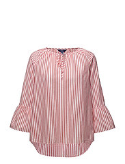 O2. STRIPED RUFFLED SLEEVE BLOUSE - STRONG CORAL