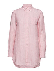 O2. STRIPED LONG LINEN SHIRT - STRAWBERRY PINK