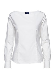 O1. TP B FITTED FEMININE OXFORD TOP - WHITE