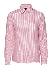 THE LINEN CHAMBRAY STRIPE SHIRT - WATERMELON RED