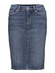 O1. BLUE DENIM SKIRT - SEMI LIGHT INDIGO WORN IN