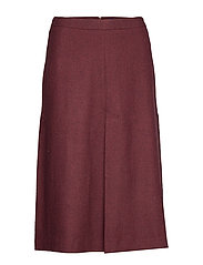 D1. WASHABLE STRETCH WOOL SKIRT - MAHOGNY RED