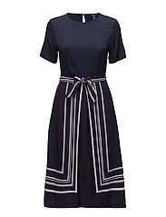 O1. BORDER STRIPE DRESS - EVENING BLUE