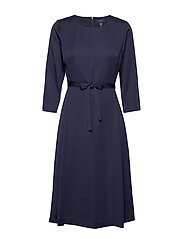D1. PREPPY STRIPE FLARED DRESS - EVENING BLUE