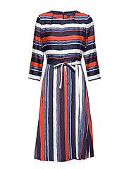 D1. PREPPY STRIPE FLARED DRESS - VINTAGE BLUE