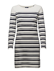 O1. BRETON STRIPE DRESS - EGGSHELL