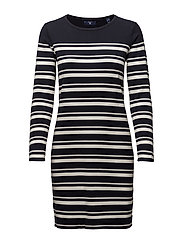 O1. BRETON STRIPE DRESS - EVENING BLUE