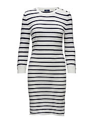 OP2. BRETON STRIPED DRESS - EGGSHELL