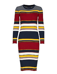 D1. RIB KNITTED DRESS - MULTICOLOR