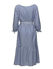 O1. PREPPY STRIPED SHIRT DRESS - COLLEGE BLUE