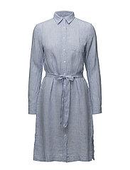 O2. STRIPED LINEN SHIRT DRESS - CAPRI BLUE