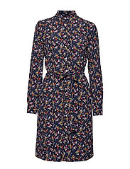 D1. SCRIBBLED FLORAL SHIRT DRESS - EVENING BLUE