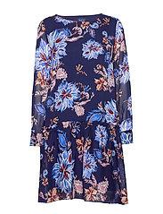 D1. MARINE PAISLEY CHIFFON DRESS - PERSIAN BLUE