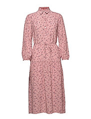 D1. MULTI FLORAL SHIRT DRESS - ASH ROSE