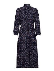 D1. MULTI FLORAL SHIRT DRESS - EVENING BLUE