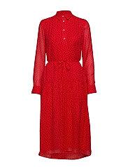 D1. FRENCH DOT CHIFFON DRESS - BRIGHT RED