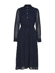 D1. FRENCH DOT CHIFFON DRESS - EVENING BLUE