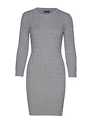 STRETCH COTTON CABLE DRESS - GREY MELANGE