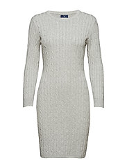 STRETCH COTTON CABLE DRESS - LIGHT GREY MELANGE
