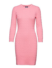 STRETCH COTTON CABLE DRESS - PINK EMBRACE