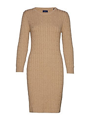 STRETCH COTTON CABLE DRESS - SAND MELANGE