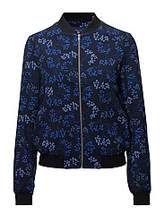 O1. BERRY PRINTED BOMBER - EVENING BLUE